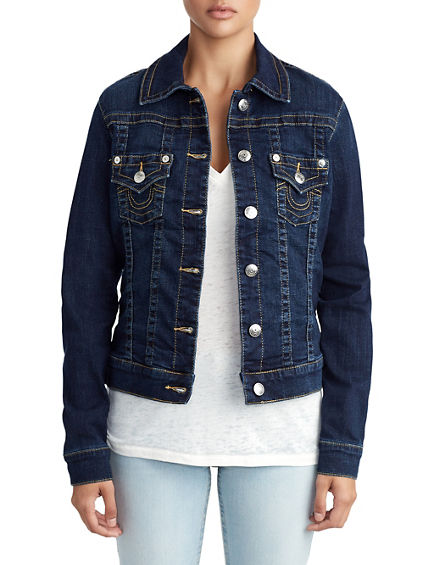 WOMENS PLAID LINED TRUCKER DENIM JACKET