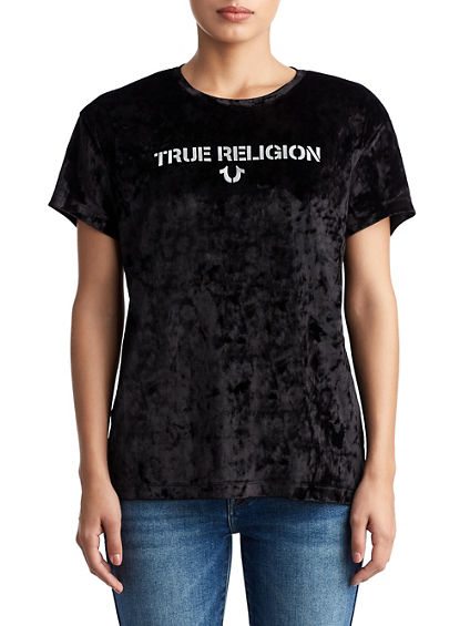 WOMENS CRUSHED VELVET LOGO TEE