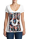 WOMENS CRYSTAL EMBELLISHED FLORAL GRAPHIC TEE