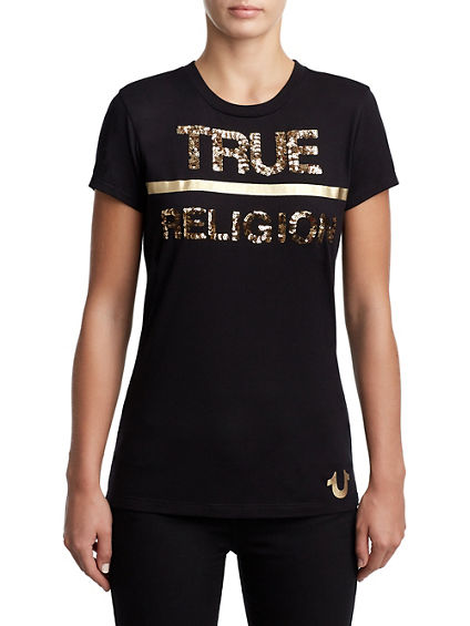 WOMENS SEQUIN METALLIC LOGO TEE