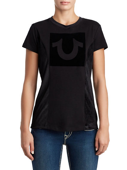 WOMENS FLOCKED VELOUR LOGO TEE