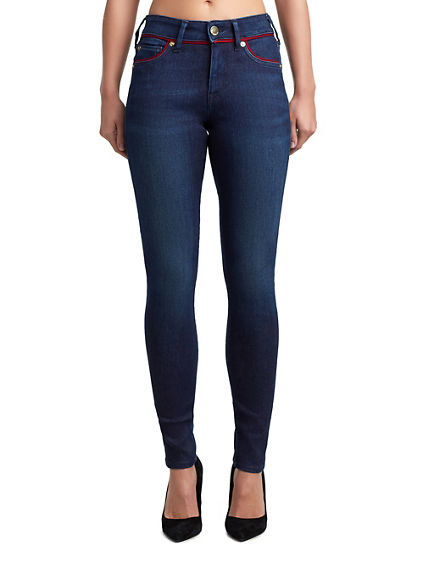 WOMENS PIPING JENNIE CURVY SKINNY JEAN