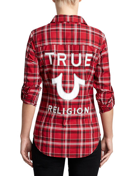 WOMENS APPLIQUE LOGO PLAID SHIRT