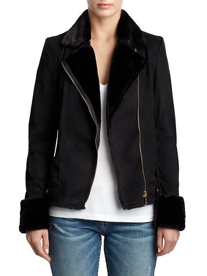 WOMENS SHERPA VEGAN SUEDE JACKET