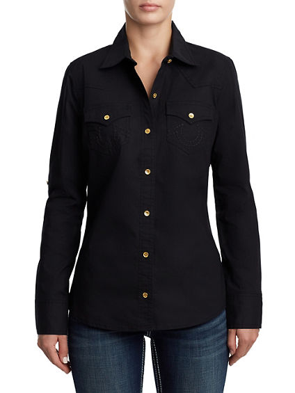 WOMENS CLASSIC BUTTON UP SHIRT