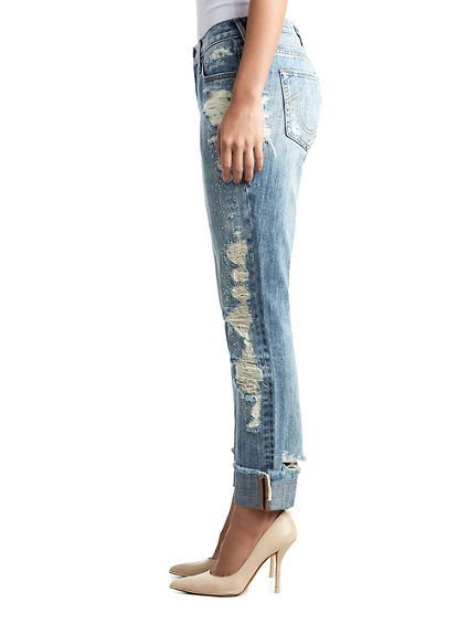 WOMENS CRYSTAL EMBELLISHED DESTROYED CAMERON BOYFRIEND JEAN