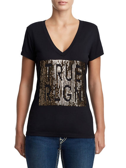 WOMENS DEEP V SEQUIN LOGO TEE