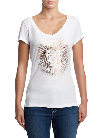WOMENS METALLIC SPRAY PAINT BUDDHA TEE