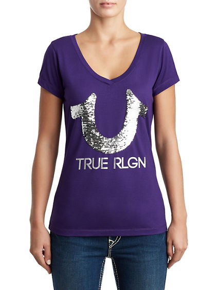 WOMENS SEQUIN LOGO TEE