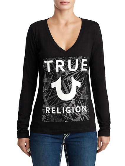 WOMENS DEEP V METALLIC LOGO SHIRT