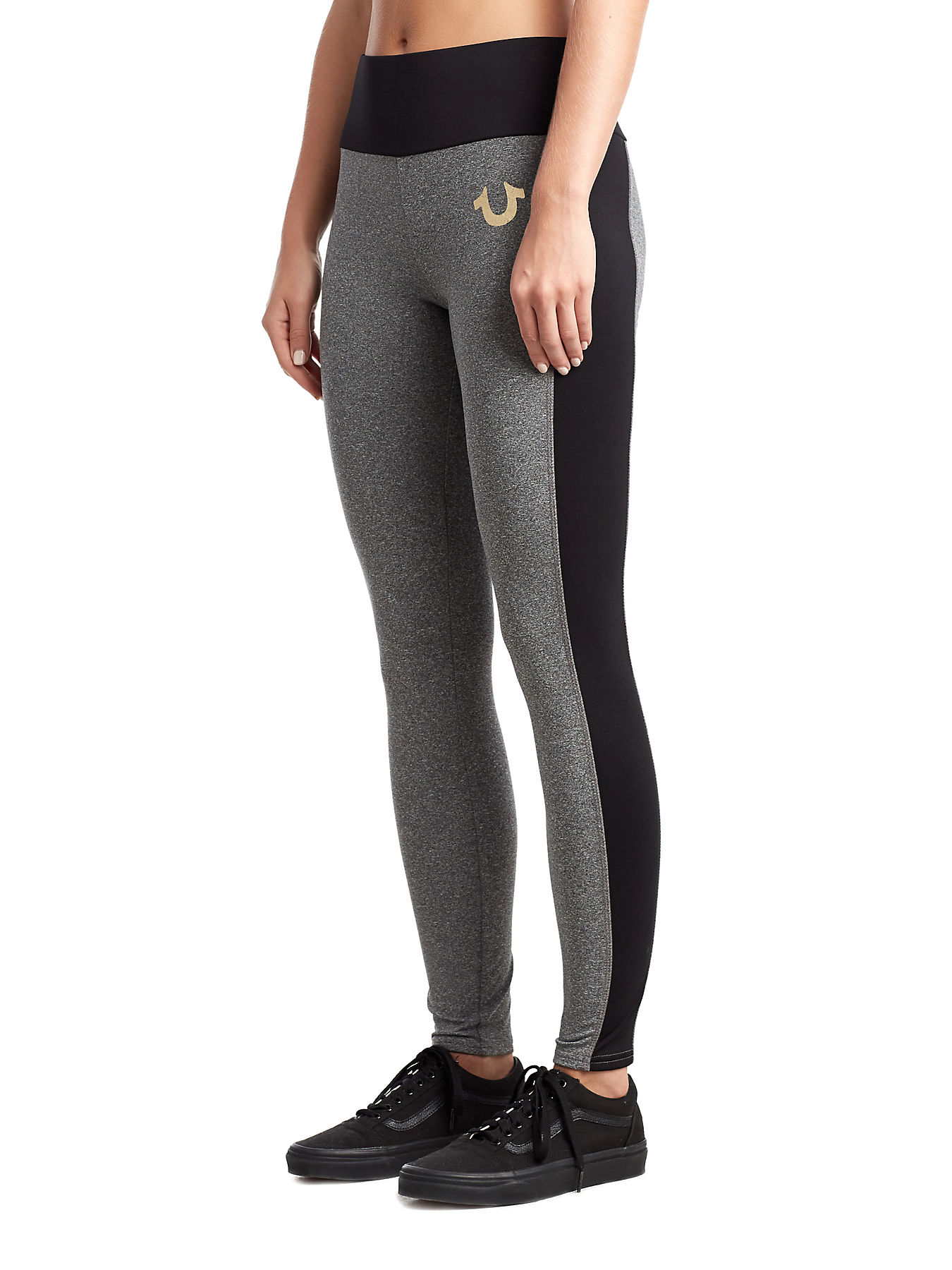 c02b30f736b7a WOMENS HIGH WAIST METALLIC LOGO LEGGING