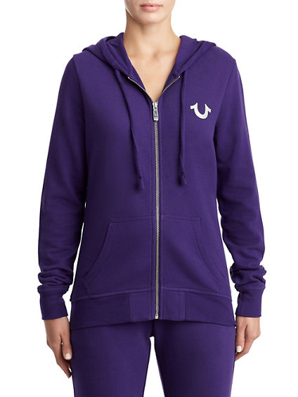 WOMENS METALLIC LOGO ZIP UP HOODIE