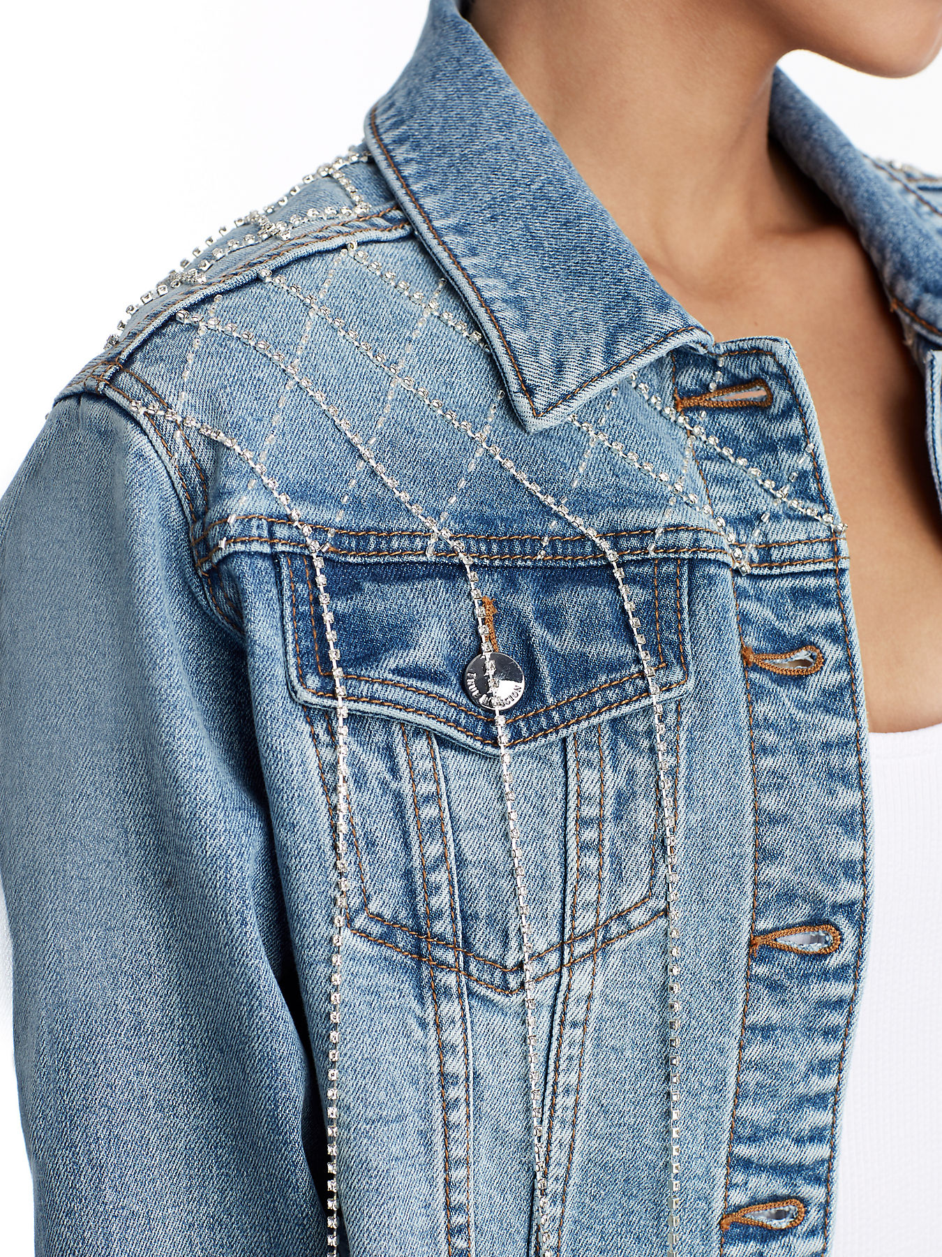 Trucker Denim Jacket Womens W Cropped Crystals SUzqMpVG