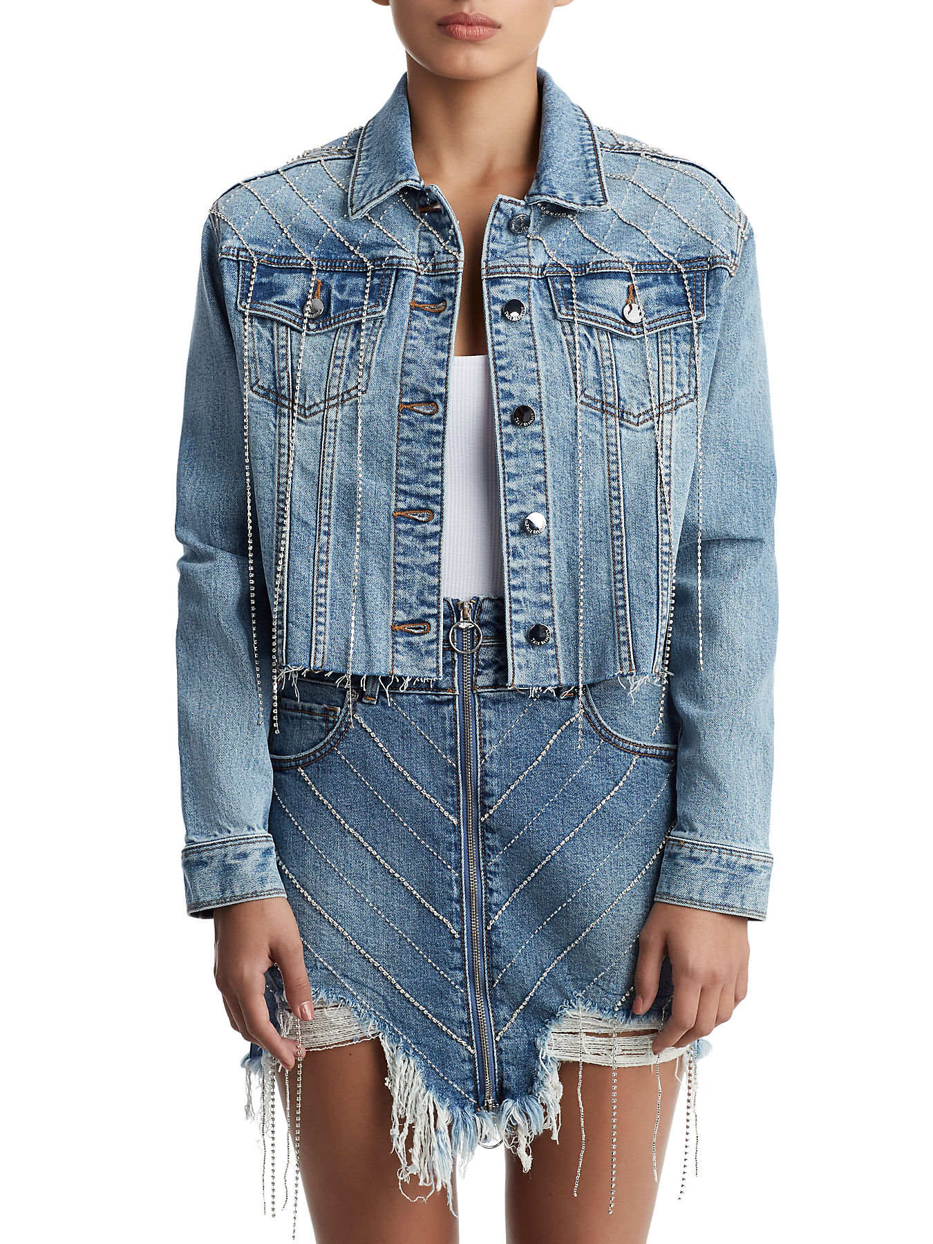 Trucker Cropped Crystals Denim Womens Jacket W W9ED2HIY