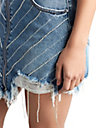 WOMENS CRYSTAL EMBELLISHED DENIM SKIRT