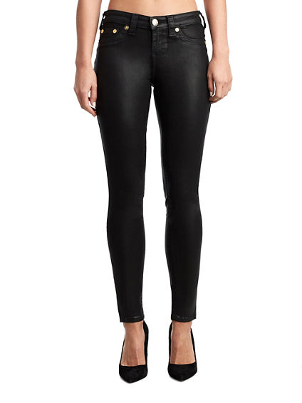 WOMENS COATED HALLE SUPER SKINNY JEAN