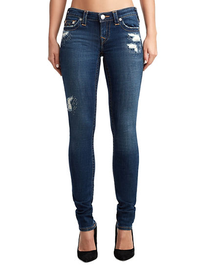 WOMENS CRYSTAL EMBELLISHED RIPS STELLA SKINNY JEAN