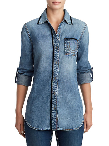 WOMENS VELVET TRIM BOYFRIEND DENIM SHIRT