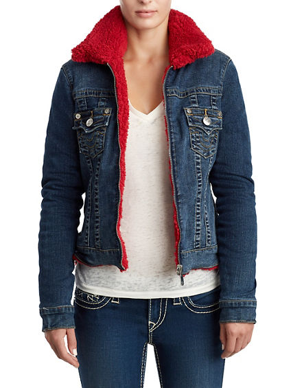 WOMENS SHERPA DENIM TRUCKER JACKET