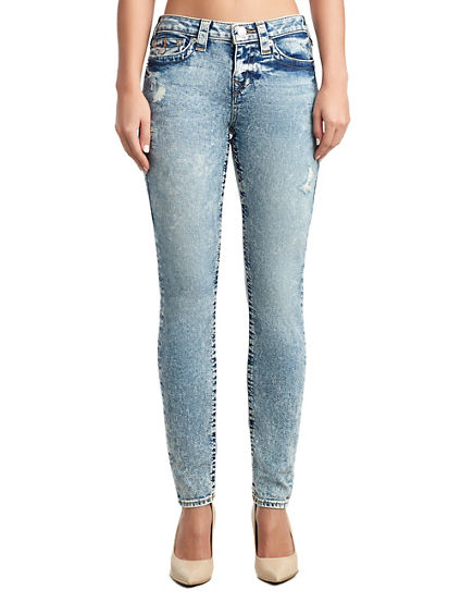 WOMENS DESTROYED HALLE SUPER SKINNY JEAN W/ FLAP