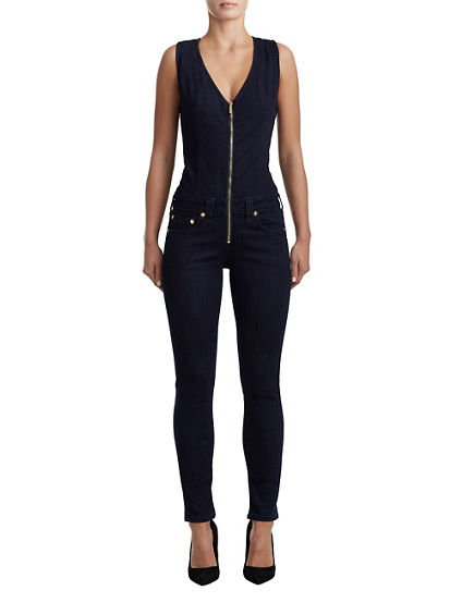 WOMENS CURVY SKINNY DENIM JUMPSUIT