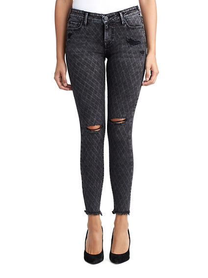 WOMENS DISTRESSED DIAMOND HALLE SUPER SKINNY JEAN