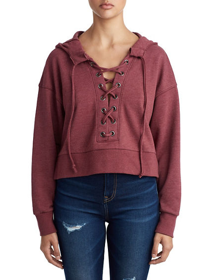 WOMENS CROPPED LACE UP PULLOVER HOODIE
