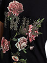 WOMENS EMBELLISHED ROSE TEE W/ LACE