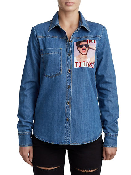 WOMENS FLOCKED DENIM SHIRT