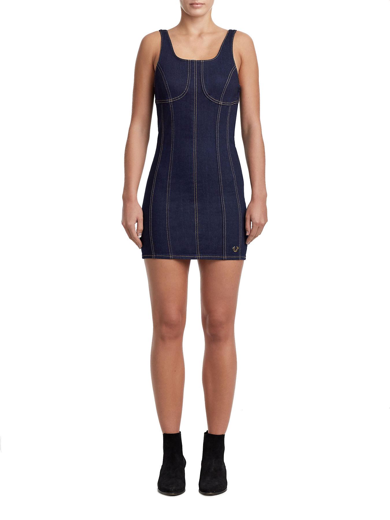 56854f8bff7 WOMENS CORSET DENIM BODYCON DRESS