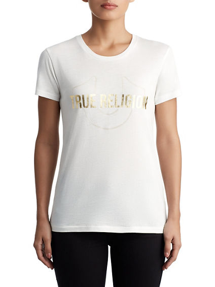 WOMENS METALLIC LOGO TEE