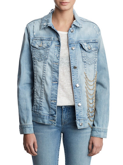 WOMENS CHAIN EMBELLISHED DENIM JACKET