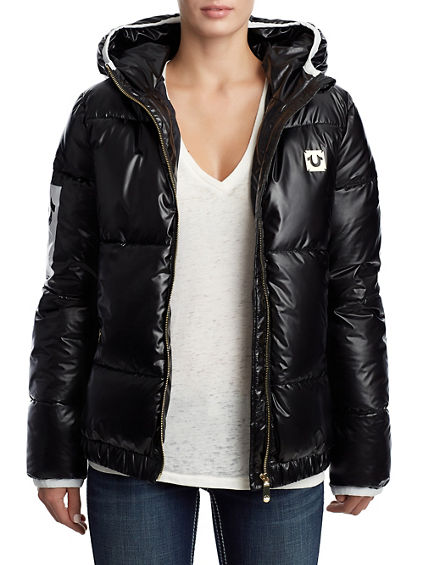 WOMENS QUILTED PUFFER COAT W/ HOOD