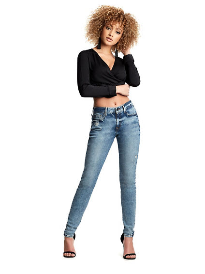 WOMENS DESTROYED JENNIE CURVY SKINNY JEAN