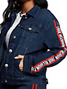 WOMENS LOGO STRIPE TRUCKER DENIM JACKET