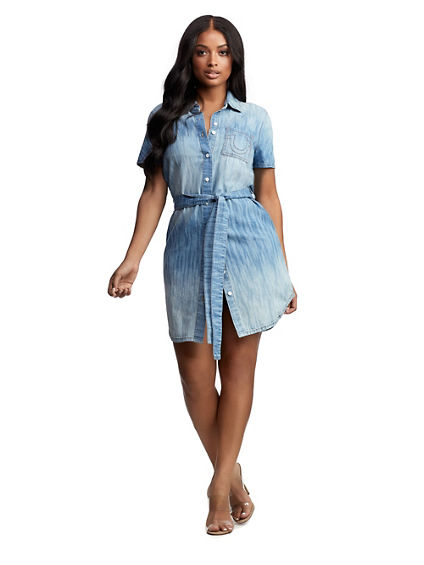 IKAT DENIM SHIRT DRESS
