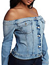 WOMENS OFF SHOULDER DENIM JACKET TOP