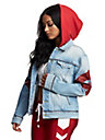 WOMENS COLORBLOCK TRUCKER JEAN JACKET