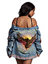 WOMENS EMBROIDERED TRUCKER JEAN JACKET