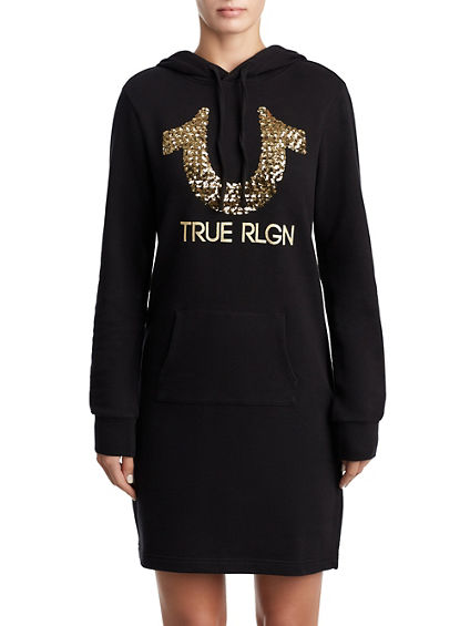 WOMENS SEQUIN SWEATSHIRT DRESS W/ HOOD