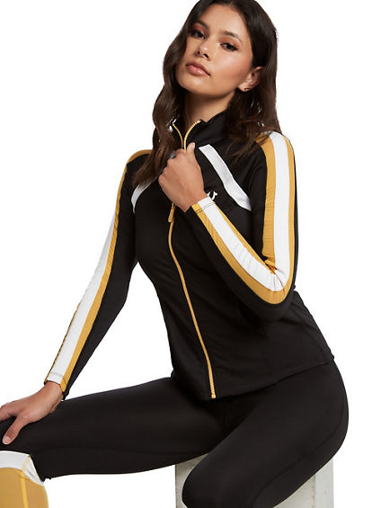 PERFORMANCE STRIPE ZIP SWEATSHIRT
