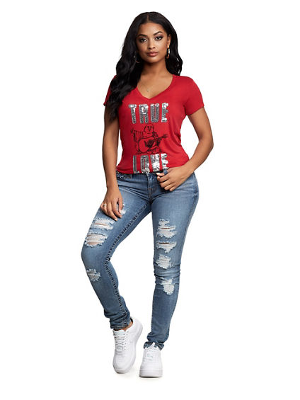 WOMENS TRUE LOVE SEQUIN TEE