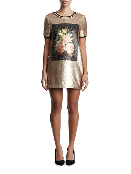 WOMENS TWO TONE METALLIC SEQUIN SHIFT DRESS