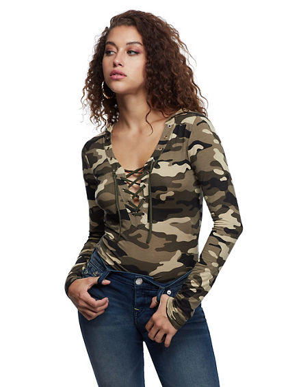 LACE UP HOODED BODYSUIT