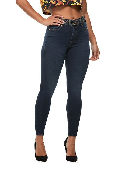 CAIA EMBROIDERED ULTRA HIGH RISE JEAN