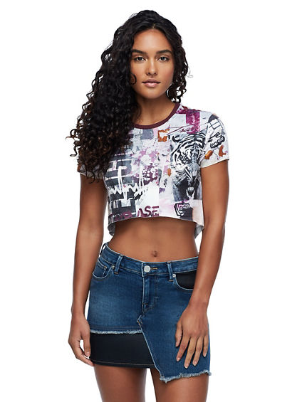 MESH COLLAGED CROP TEE