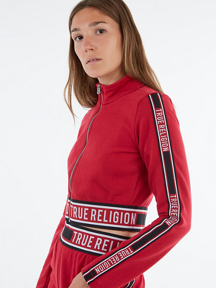 LOGO ZIP CROP SWEATSHIRT