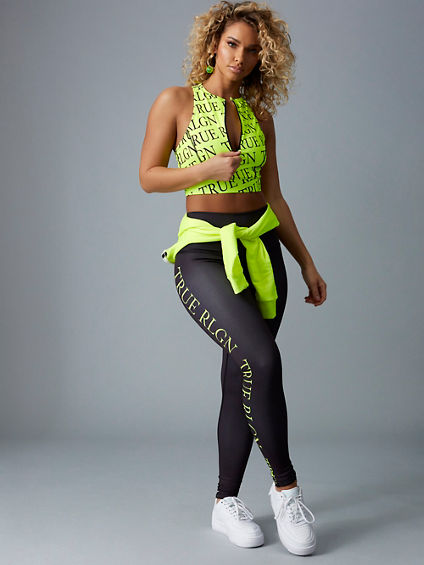 BODIED NEON YELLOW REPEAT LOGO LEGGING