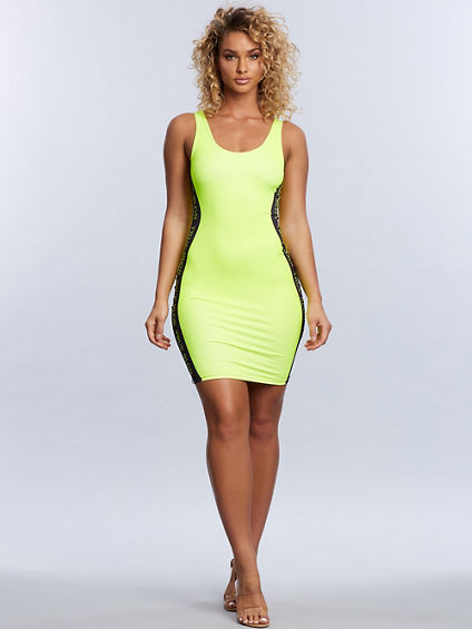 WOMENS BODIED NEON BANDED DRESS