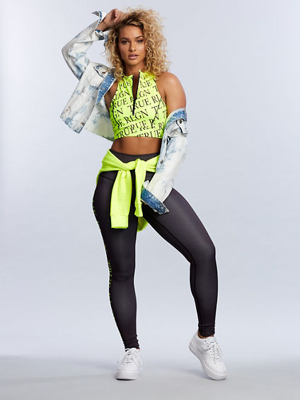 NEON REPEAT LOGO ZIP SPORTS BRA